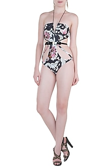 Multicolour eden noir cutout trikini by Shivan & Narresh