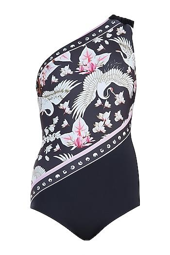 Multicolour eden noir one shoulder swimsuit by Shivan & Narresh