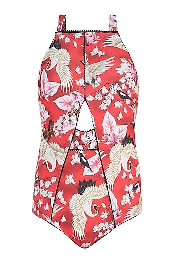 Red eden schiele edges swimsuit by Shivan & Narresh