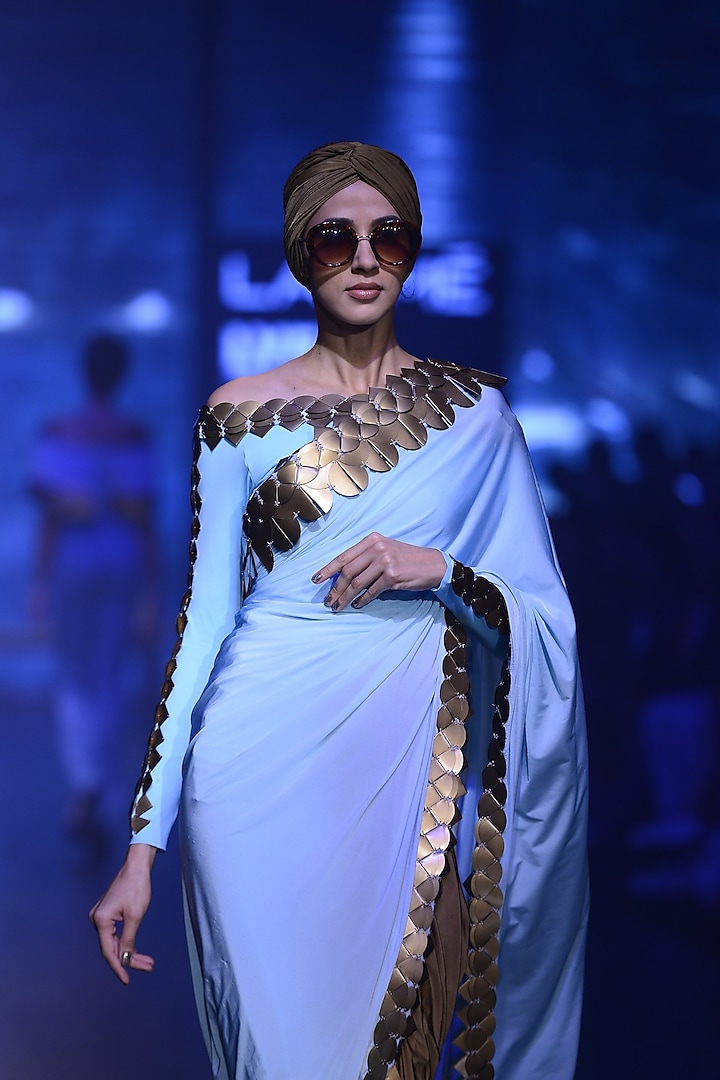 Sky Blue and Gold Skein Work Blouse by Shivan & Narresh