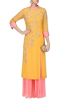 Mustard Yellow and Pink Embroidered Kurta Set by Sanna Mehan