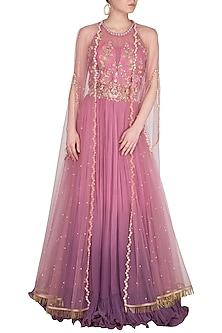Lavender Embroidered Ombre Anarkali Gown With Cape by Sanna Mehan