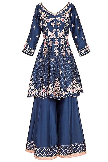 Midnight Blue Embroidered Sharara Set by Sanna Mehan
