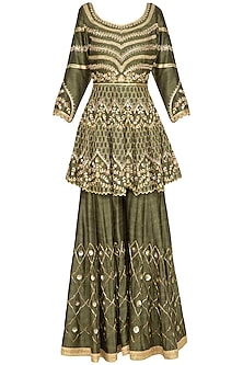 Olive Green Embroidered Sharara Set by Sanna Mehan
