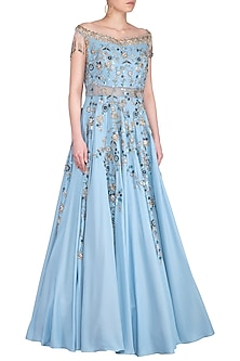 Sky Blue Embroidered Off Shoulder Gown by Sanna Mehan