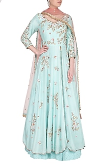 Powder Blue Embroidered Jacket Lehenga Set by Sanna Mehan