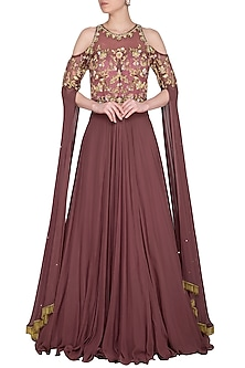 Toasted Almond Embroidered Cold-Shoulder Gown by Sanna Mehan