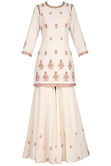 Ivory Embroidered Sharara Set by Sanna Mehan
