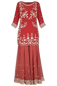 Brick Red Embroidered Sharara Set by Sanna Mehan
