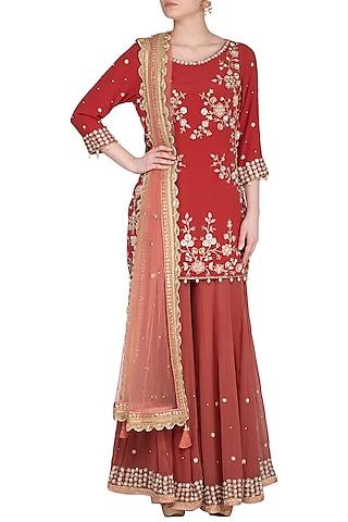 Brick Red Embroidered Sharara Set by Sanna Mehan