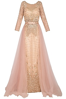 Champagne Embroidered Belted Gown by Sanna Mehan
