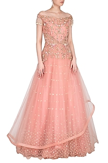 Blush Pink Embroidered Off Shoulder Gown by Sanna Mehan
