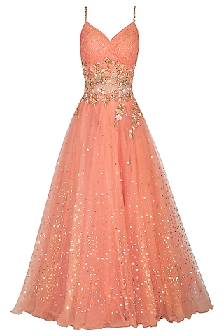 Peach Embellished Strappy Gown by Sanna Mehan