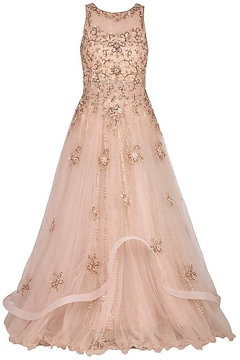 Nude Embroidered Flared Gown by Sanna Mehan