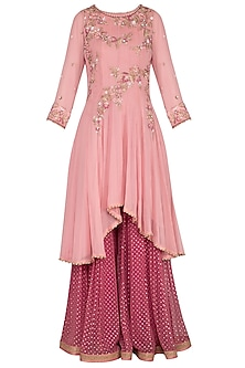 Blush Pink Embroidered Sharara Set by Sanna Mehan