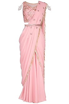 Blush Pink Embroidered Saree Set With Belt by Sanna Mehan