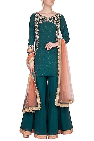 Teal Green Embroidered Sharara Set by Sanna Mehan