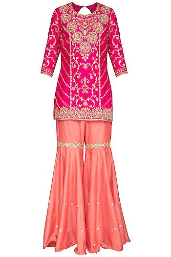 Hot Pink Embroidered Sharara Set by Sanna Mehan
