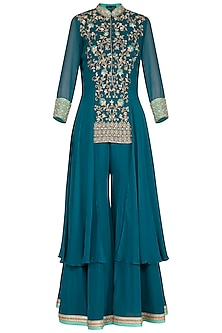 Teal Blue Embroidered Sharara Set by Sanna Mehan