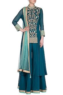 Teal Blue Embroidered Sharara Set by Sanna Mehan