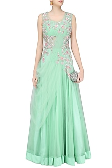 Mint Green Floral Zardozi and Sequins Embroidered Anarkali Gown by Sanna Mehan