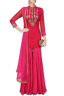 Red Mirror Work Short Kurta with Pink Sharara Pants by Sanna Mehan