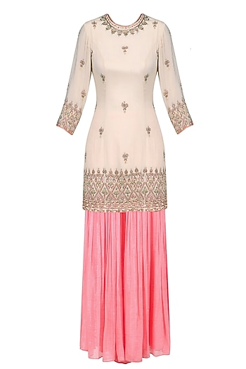 Nude Floral Embroidered Short Kurta and Sharara Pants Set by Sanna Mehan