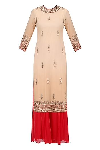Beige Floral Embroidered Long Kurta and Red Sharara Pants Set by Sanna Mehan
