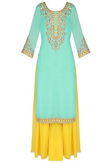 Turquoise Mirror Embroidered Kurta And Sharara Set by Sanna Mehan
