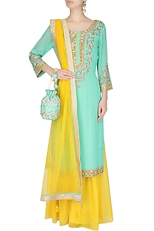 Turquoise Mirror Embroidered Kurta And Sharara Set by Sanna Mehan