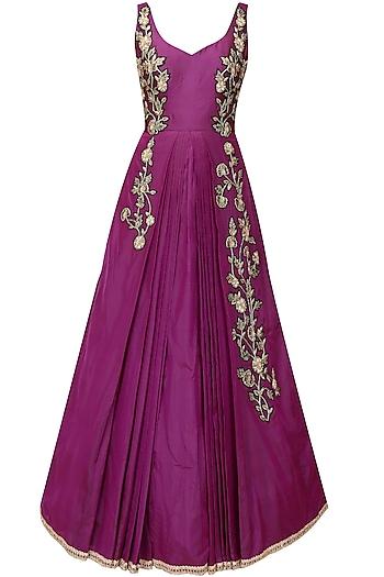 Wine zardozi floral motifs flared ball gown by Sanna Mehan
