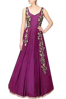 Wine zardozi floral motifs flared ball gown by Sanna Mehan