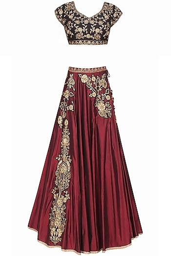 Marsala floral dabka and zardozi embroidered lehenga and black blouse set by Sanna Mehan