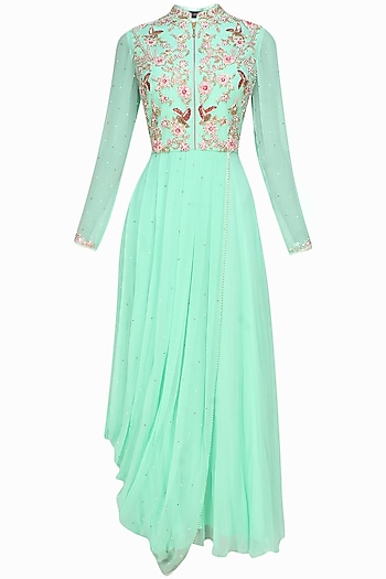 Baby blue floral embroidered pleated drape dress by Sanna Mehan