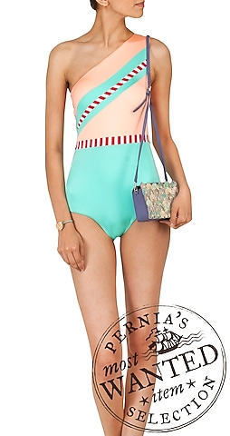 Seychelles and alba colour blocked and vertical striped maillot by Shivan & Narresh