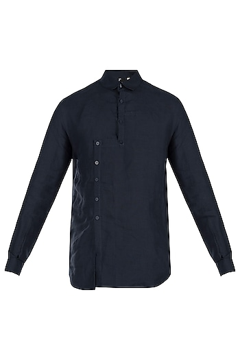 Navy blue linen shirt by Son Of A Noble SNOB