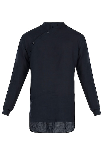 Navy blue linen placket kurta by Son Of A Noble SNOB