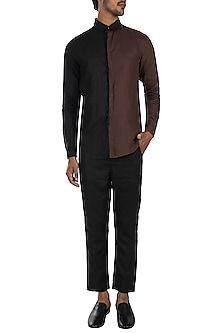 Dark brown and black shirt by Son Of A Noble SNOB