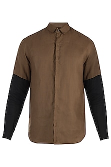 Brown sleeves blocked shirt by Son Of A Noble SNOB