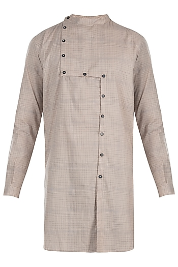 Beige cotton kurta by Son Of A Noble SNOB