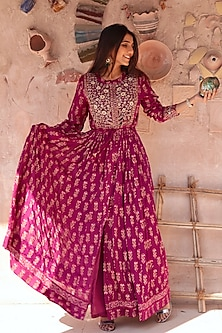 Grape Wine Embroidered & Printed Anarkali Set by Shyam Narayan Prasad