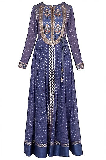 Purple Embroidered Anarkali Set by Shyam Narayan Prasad