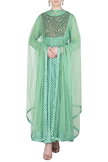 Light Green Block Printed and Embroidered Anarkali Set by Shyam Narayan Prasad