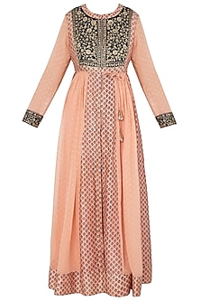 Peach and Black Block Printed and Embroidered Anarkali Set by Shyam Narayan Prasad