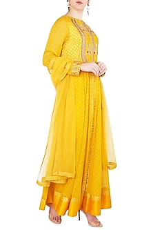 Yellow Embroidered Anarkali Set by Shyam Narayan Prasad