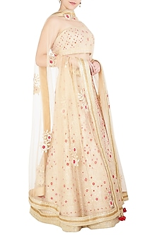 Beige Gota Patti Embroidered Lehenga Set by Shyam Narayan Prasad