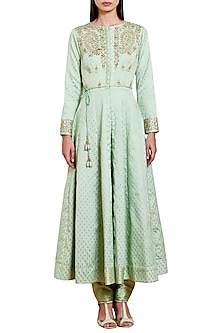 Mint Green Embroidered Anarkali Set by Shyam Narayan Prasad