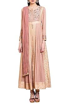 Old Pink Embroidered Anarkali Set by Shyam Narayan Prasad