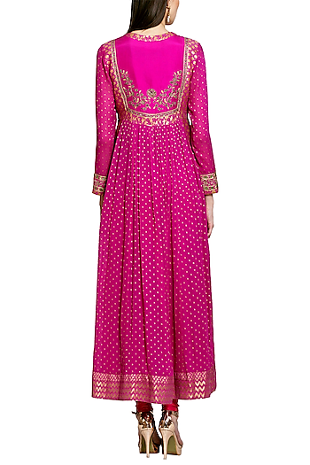 Dark Pink Embroidered Anarkali Set by Shyam Narayan Prasad