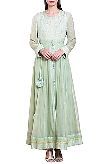 Mint Green Embroidered Anarkali Set by Shyam Narayan Prasad